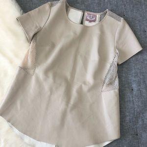 Romeo+Juliet faux leather cut out mesh blouse sz.M